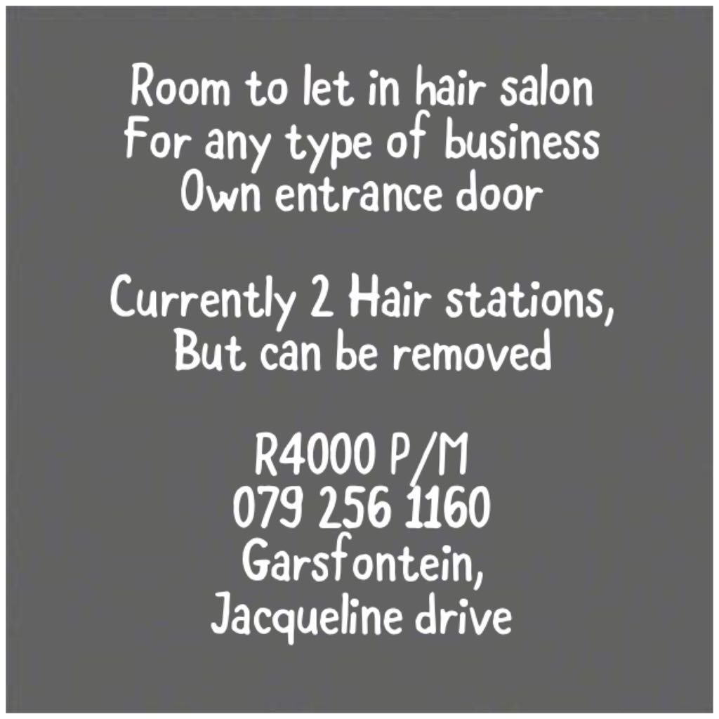 Room to let in Hair and Sunbed salon