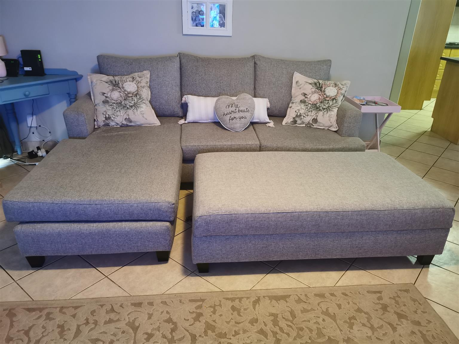 L Shape Couch with storage ottoman to match