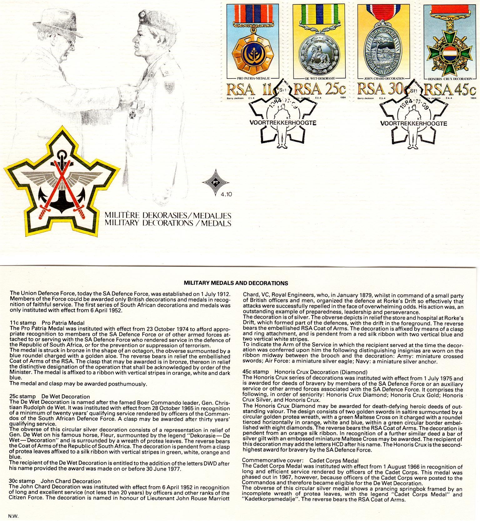 Commemorative Stamp & Envelope Set - Military Decorations/Medals 1984