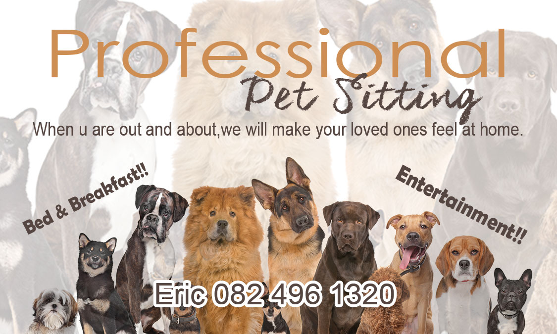 <<<Professional PET Sitting>>>. Offering peace of mind while you at work away or holiday :)