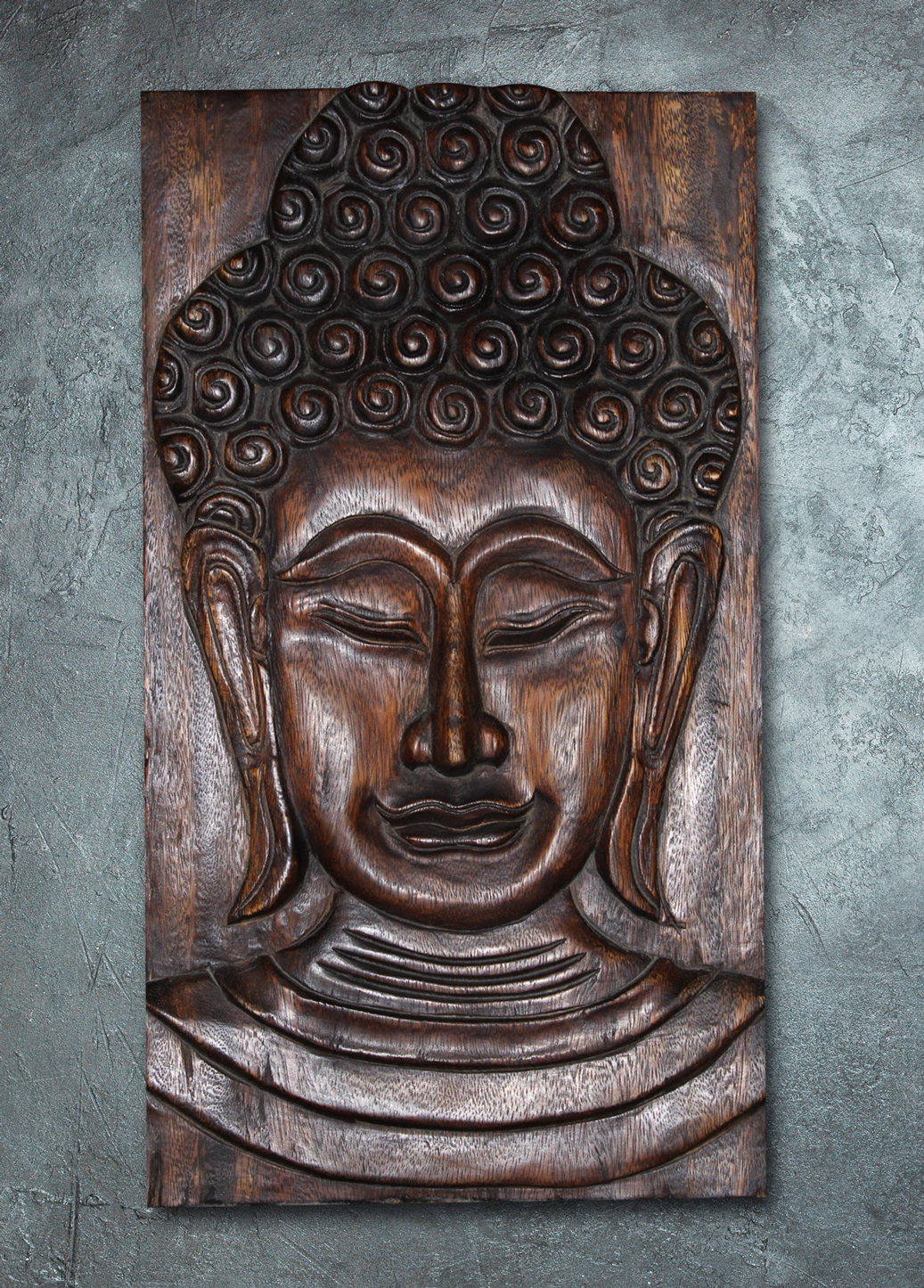 Carved Wood Buddha Wall Hanging