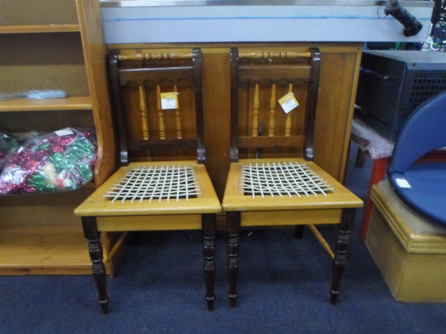 2x Wooden Riempies Chairs