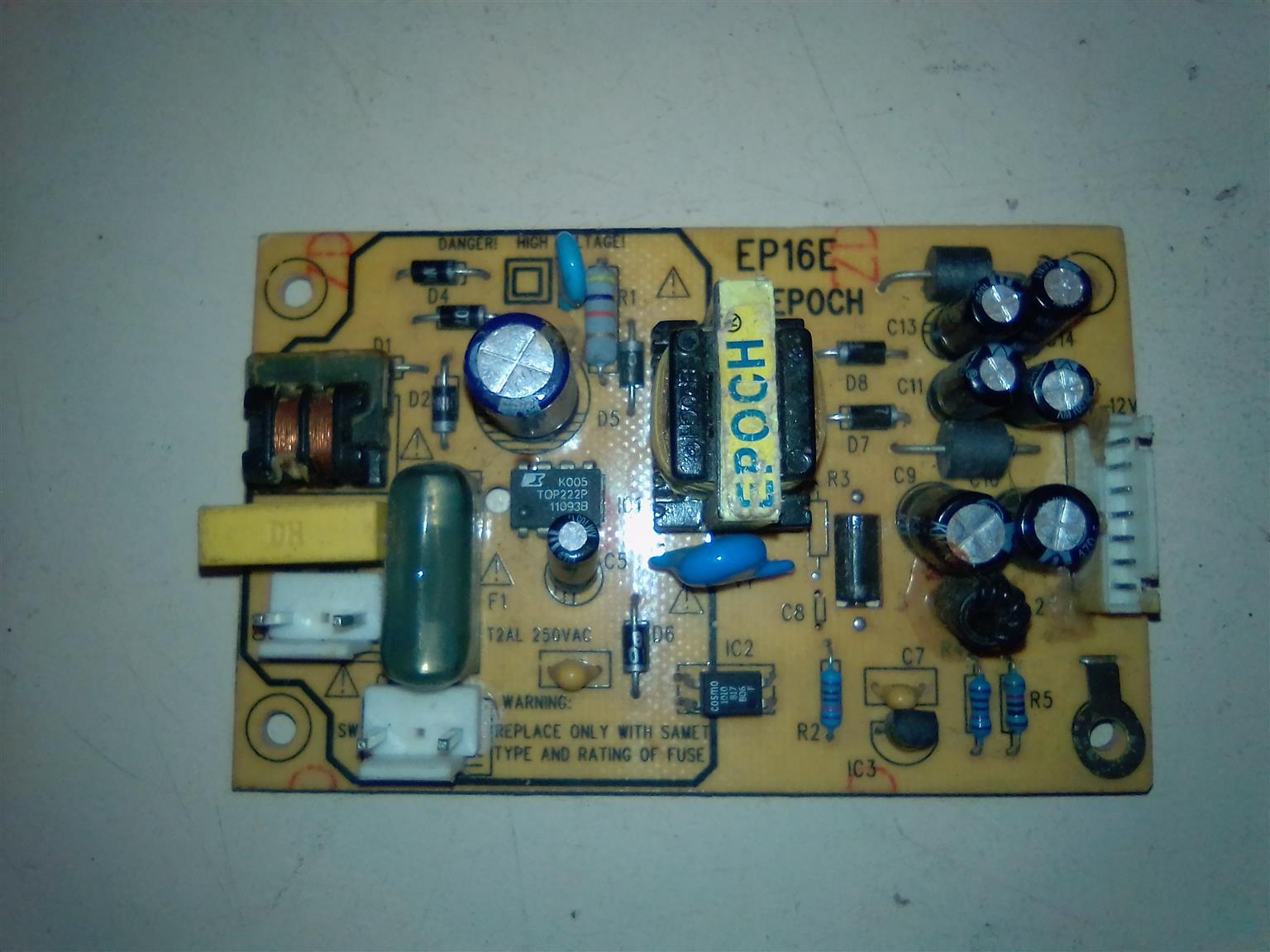 An EP16E EPOCH dvd player power supply board.