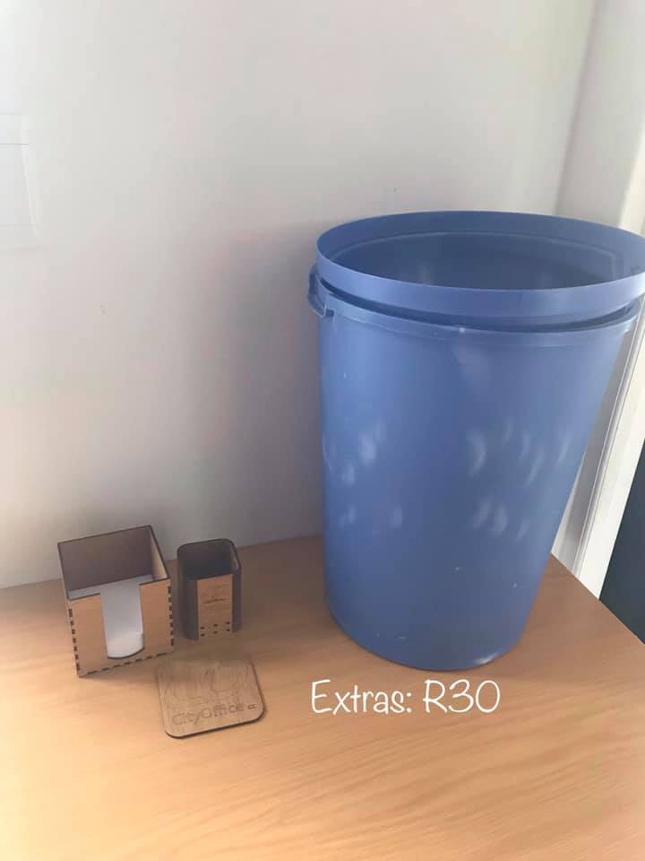 Blue dustbin and extras