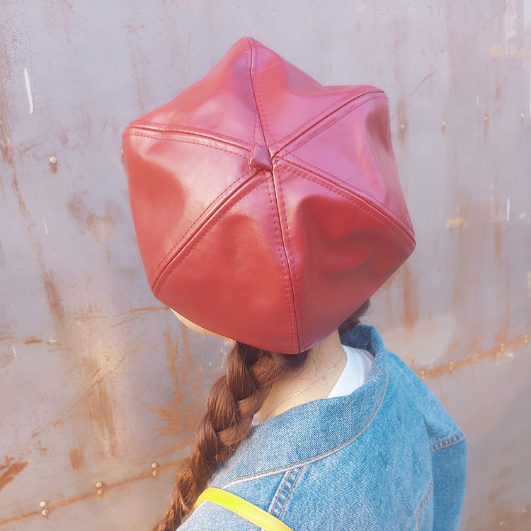 100% Real Leather Beret Hats for Sale  0e14dfde09d9