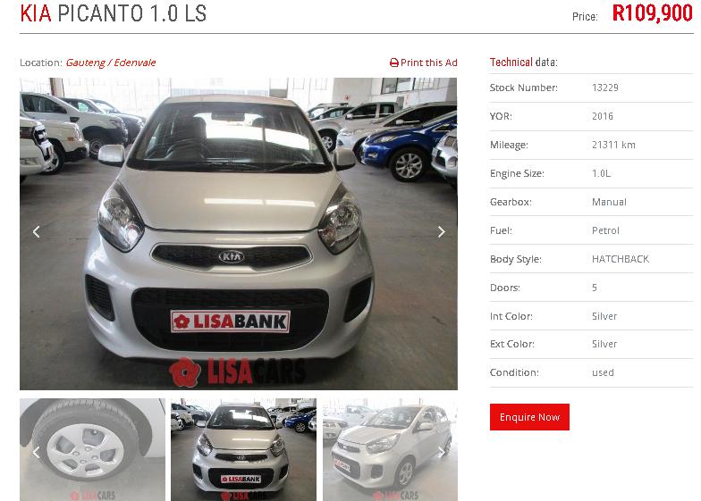 2016 Kia Picanto 1.0