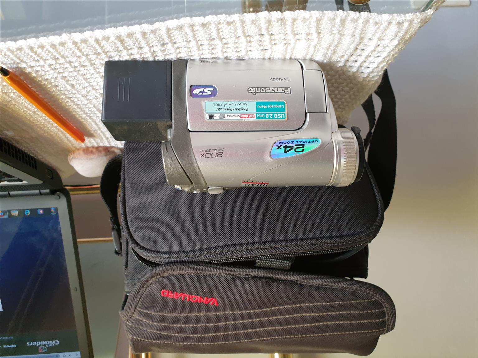 Panasonic Video Camera with case and charger