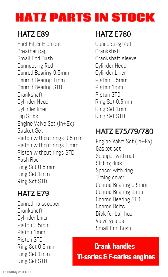HATZ E780 engine parts