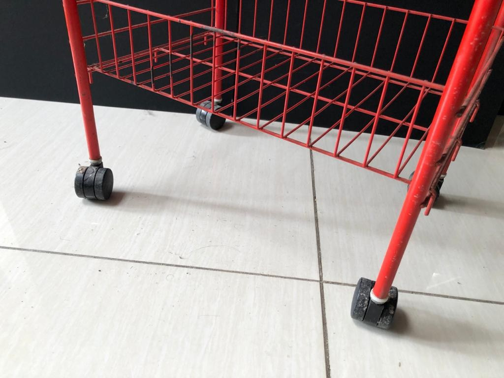 Modern Wire mesh Veggie rack or bathroom caddy on casters