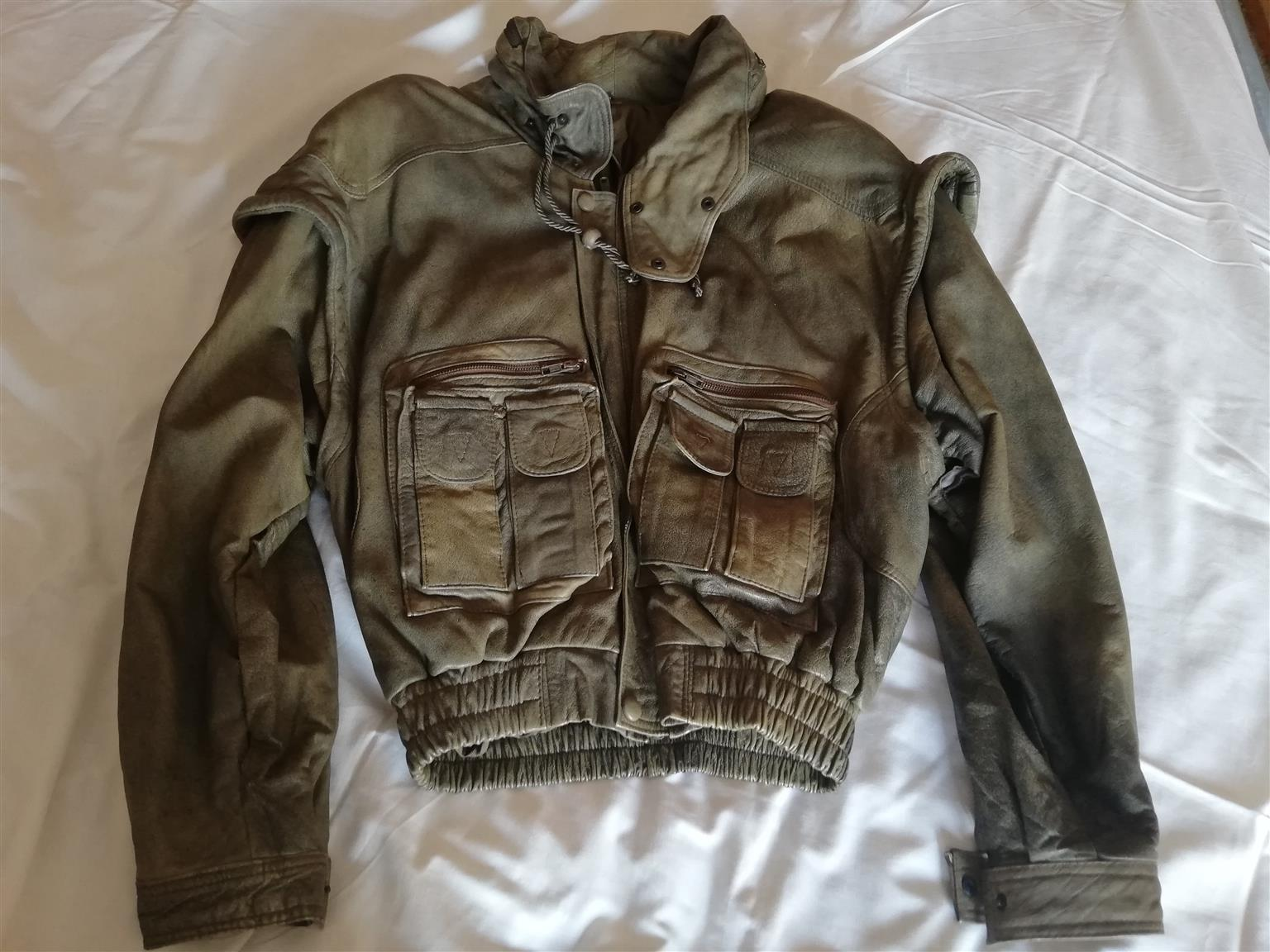 Leather Jacket, Gents, size Large, colour antique green, imported from Turkey.