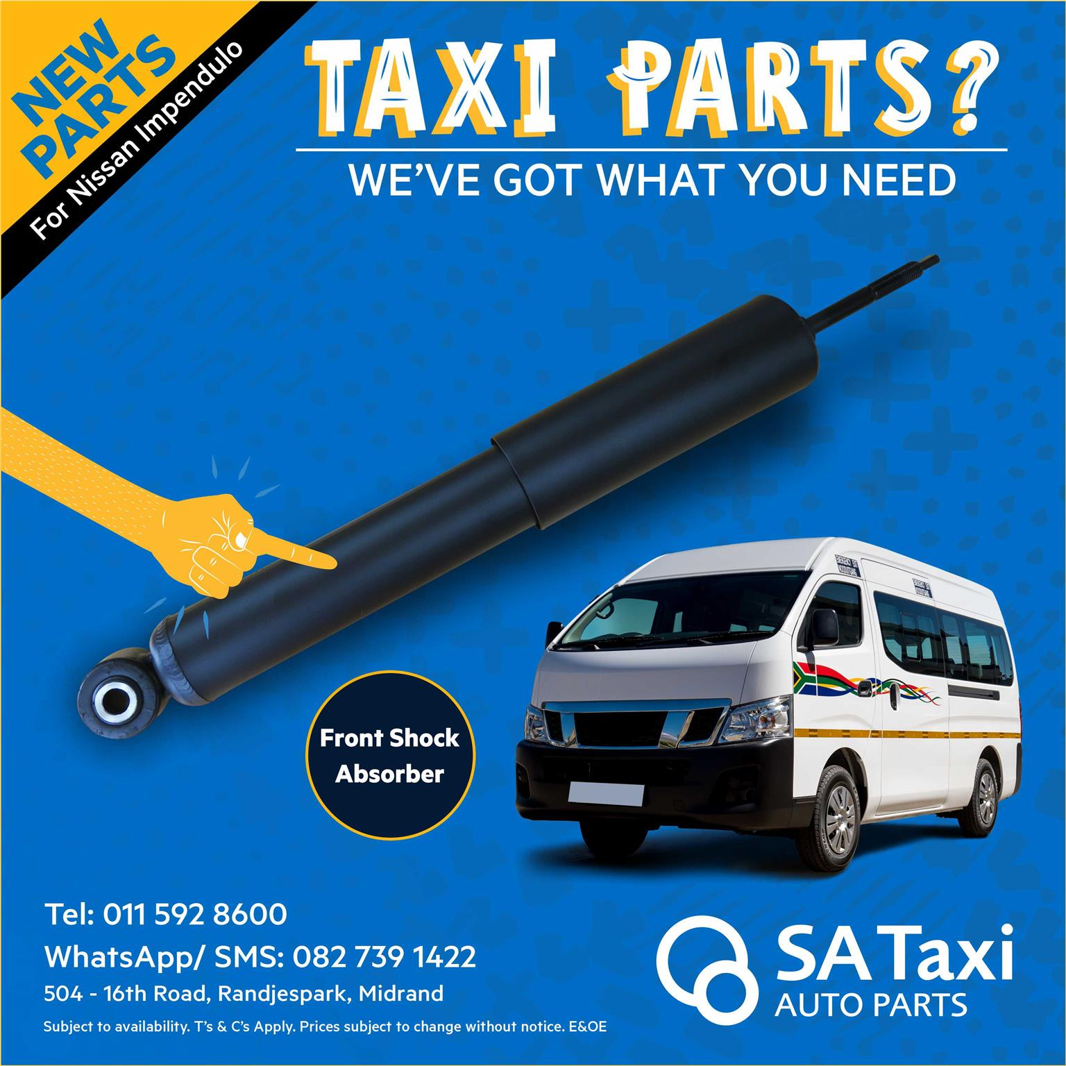 Front Shock Absorber - NEW Parts for Nissan NV350 Impendulo - SA Taxi Auto Parts quality spares