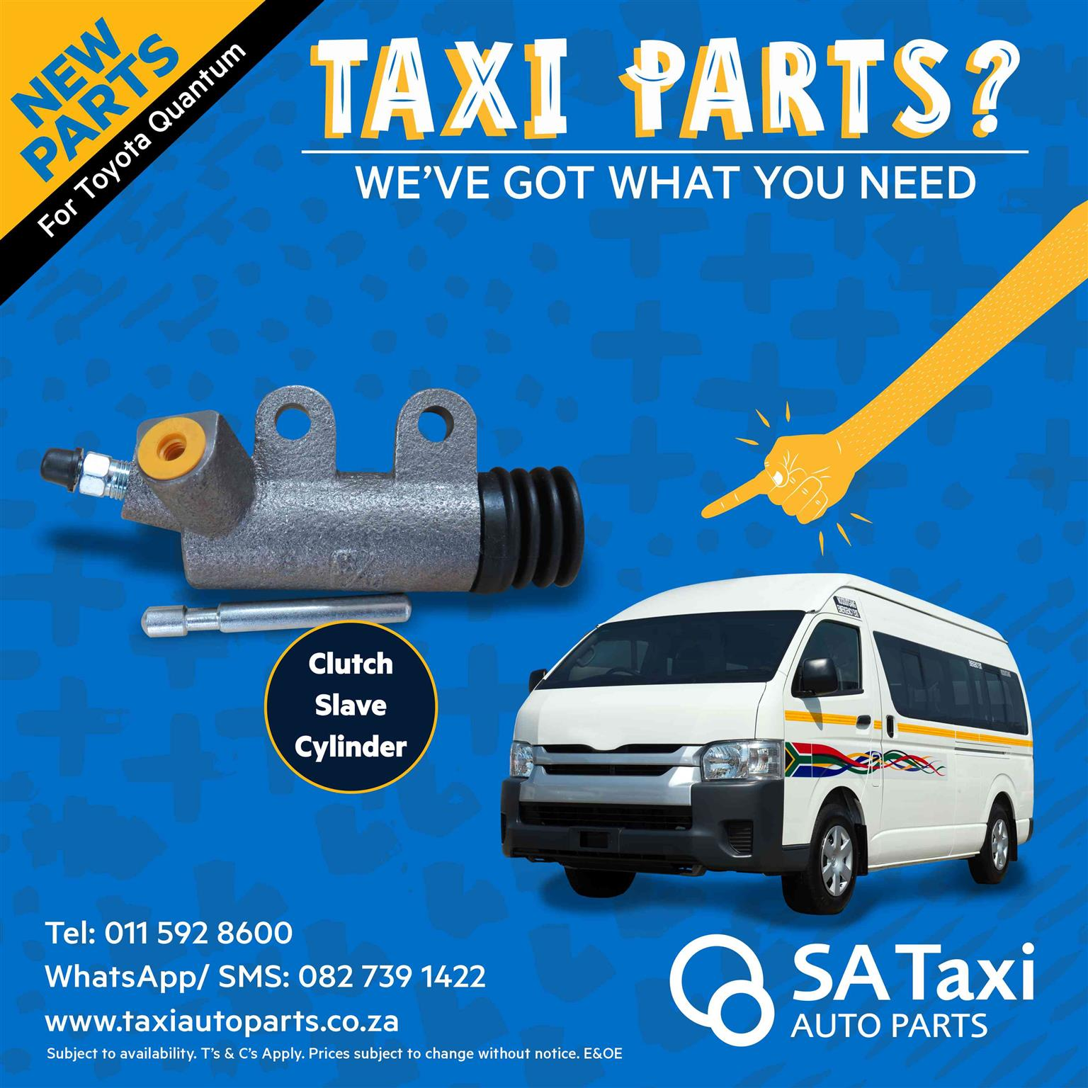 New Clutch Slave Cylinder suitable for Toyota Quantum - SA Taxi Auto Parts quality spares