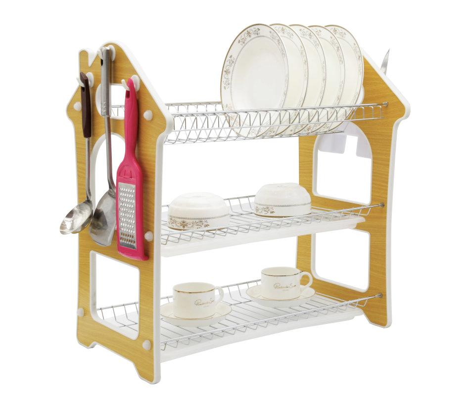 Comfeto Wares Three Tier Kitchen Dish Rack Holder (Wooden)