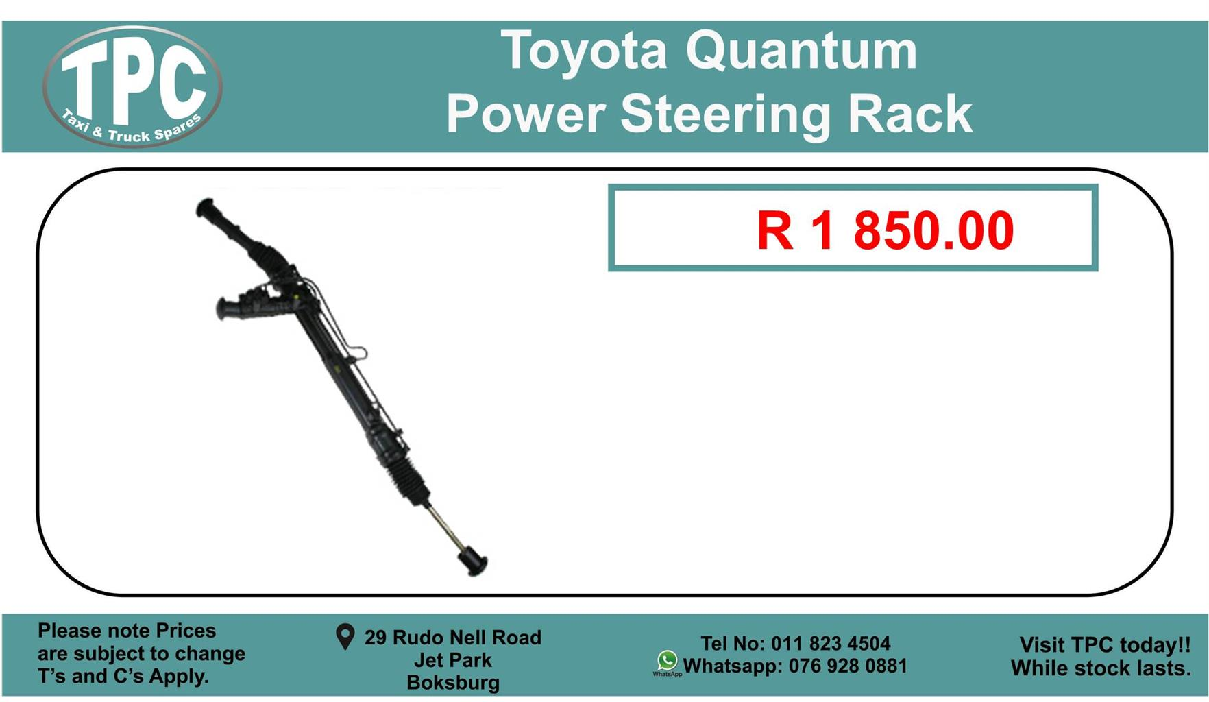 Toyota Quantum Power Steering Rack For sale.