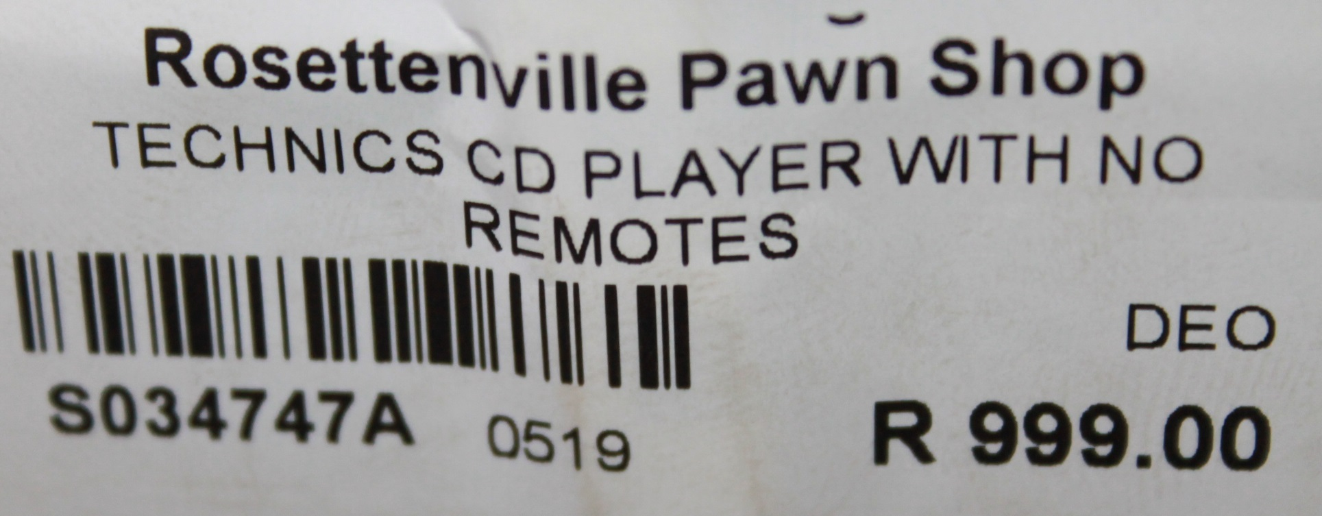 S034747A Technics cd player with no remote #Rosettenvillepawnshop