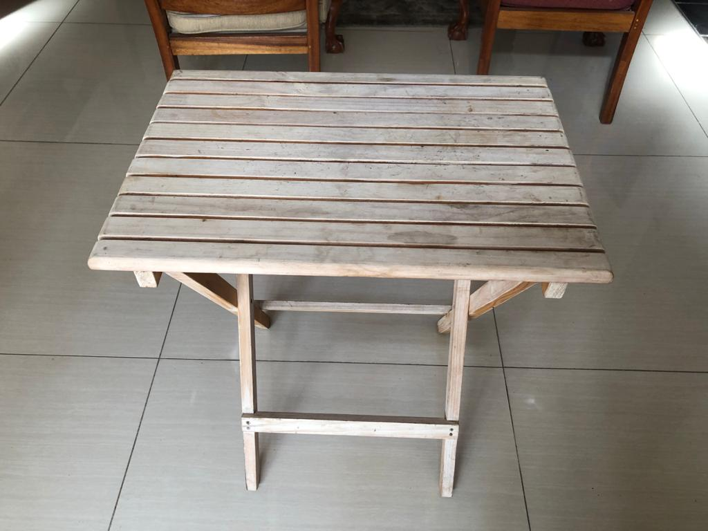 Slatted top Limewash Solid Wood Folding Table - ideal for beautician/desk etc