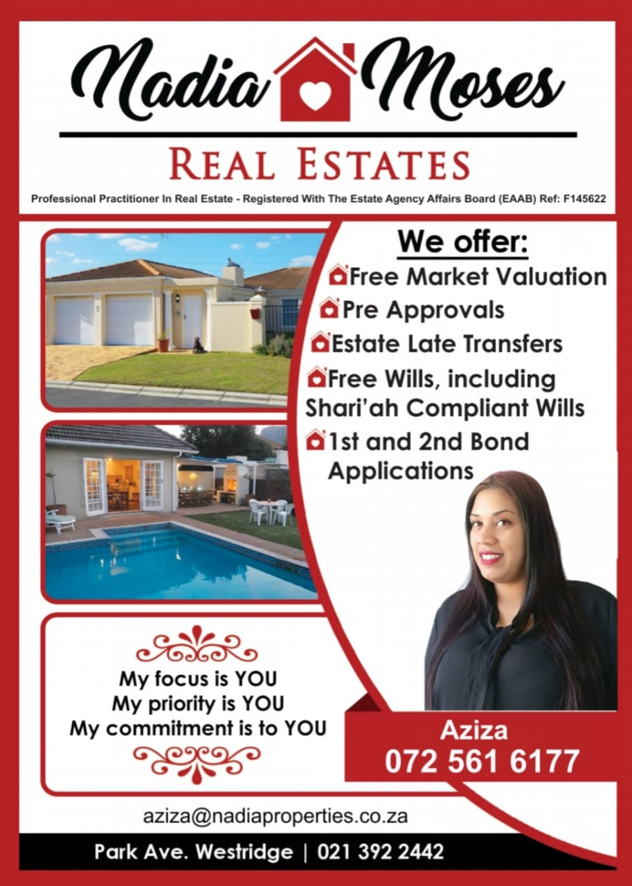 Grassy park. Considering selling your home or know of someone wanting to sell their home Call Aziza Kader today for fast response