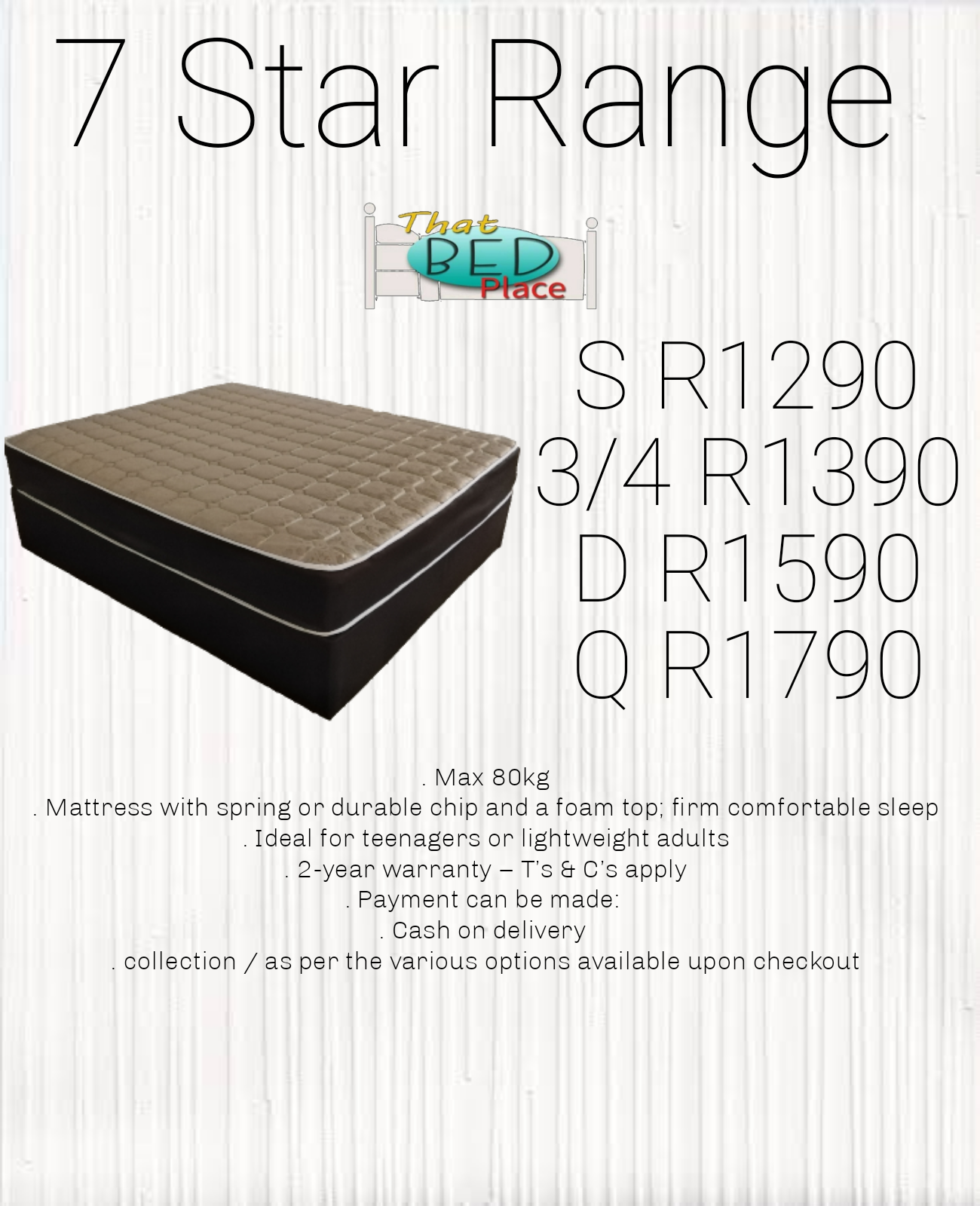 Brand New 7 star base and mattress set