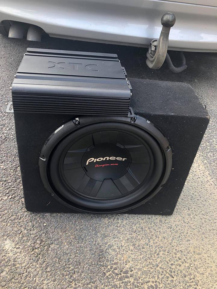 """Pioneer 12"""" subwoofer in box"""