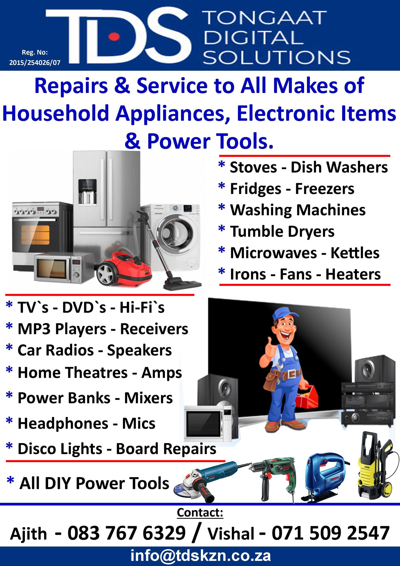 Repairs And Service to Household Appliances
