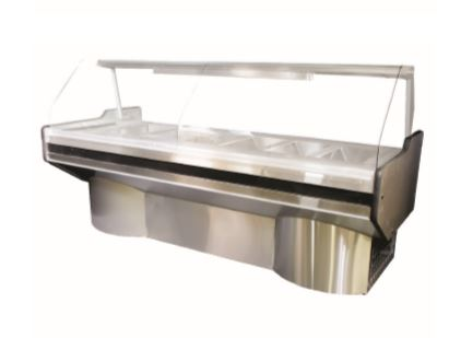 5 DIVISION CURVED GLASS BAIN MARIE S/STEEL EXT PED (2000x1100x1350mm)-5DCGBMSSEP
