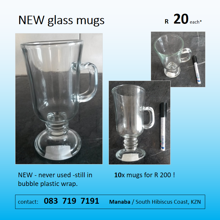 NEW glass mugs