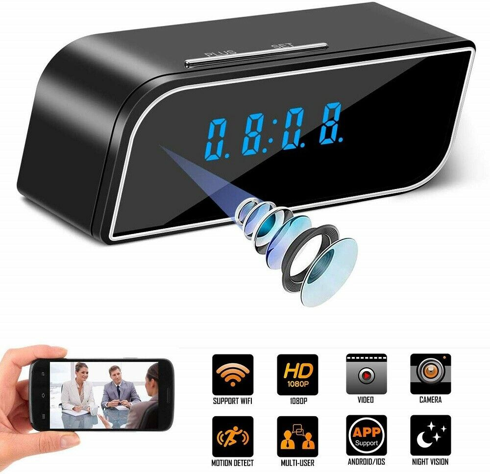 WiFi Spy Camera Clock HD Video Recorder with Motion Sensor Plus More. Brand New Products
