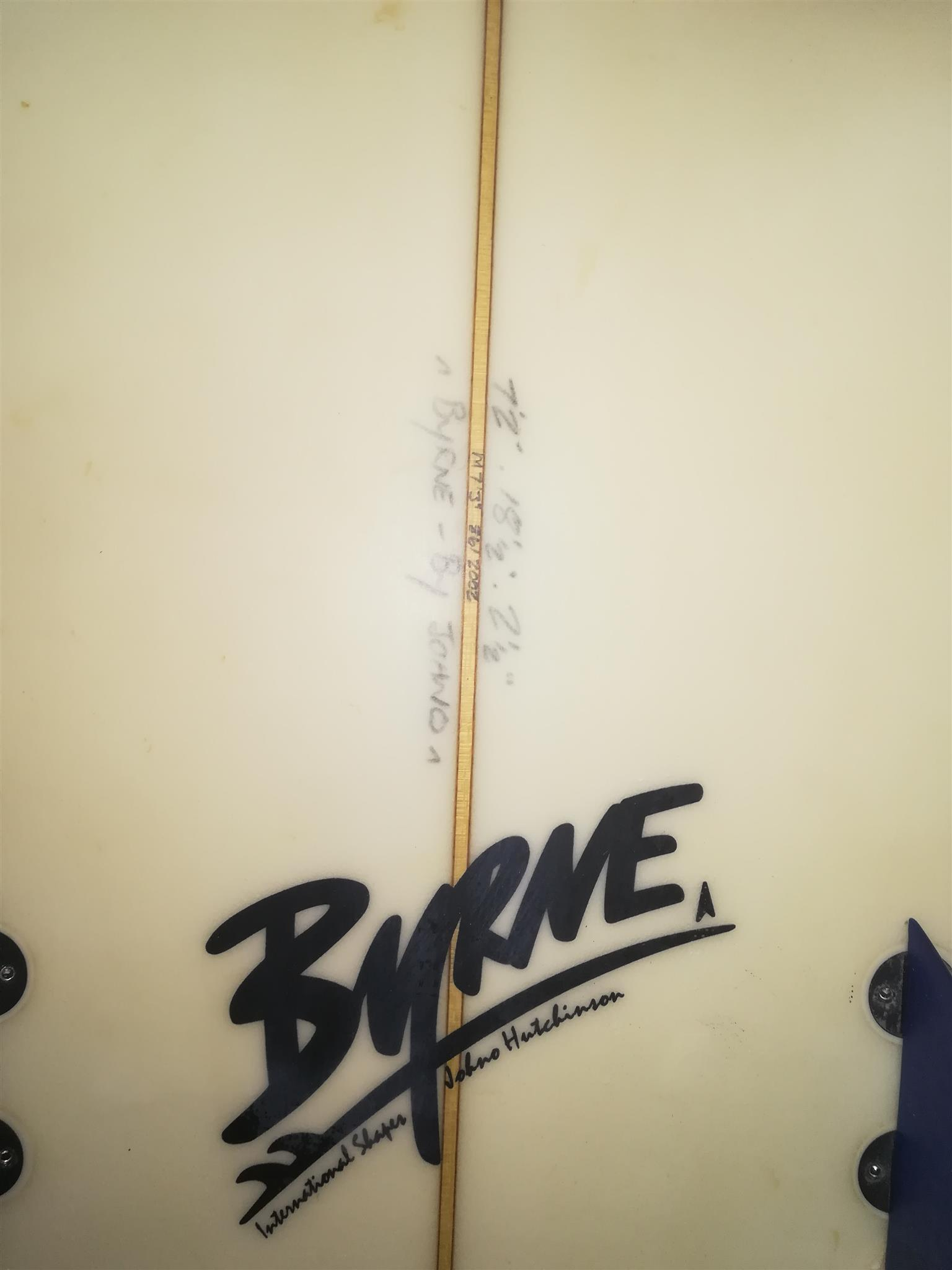 Gun surfboard shaped by Johno Hutchinson (Byrne International Shapes)