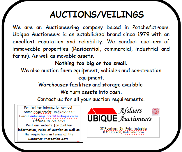UBIQUE AUCTIONEERS: We auction all types of farming equipment and vehicles.