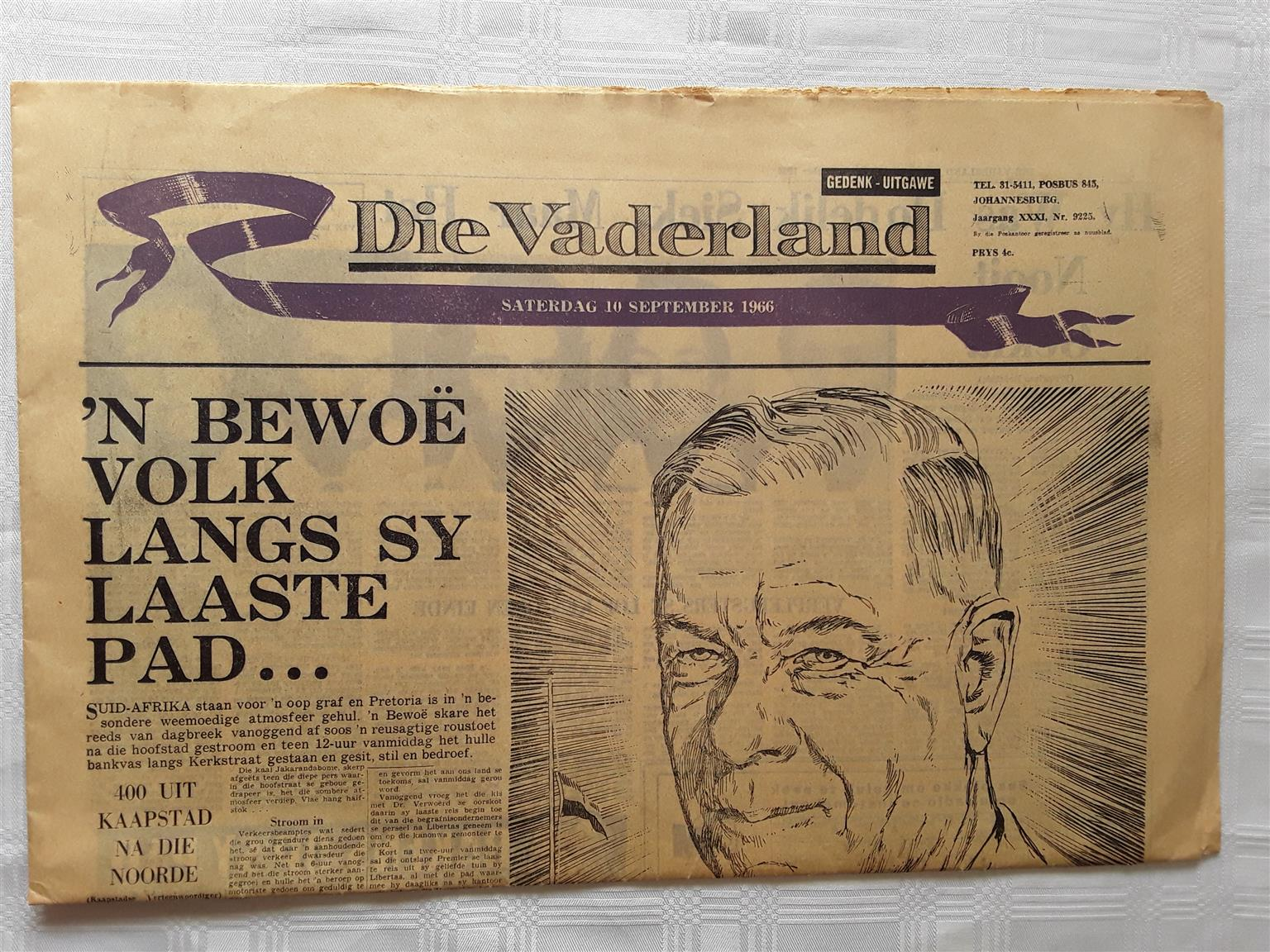53 Years Old Newspapers (1966) – Dr Hendrik Verwoerd