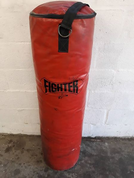 Large punching bag.