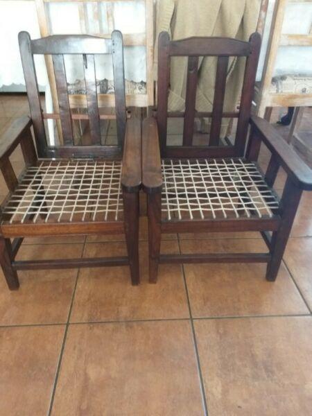 2 x Antique Morris kiddies chairs.