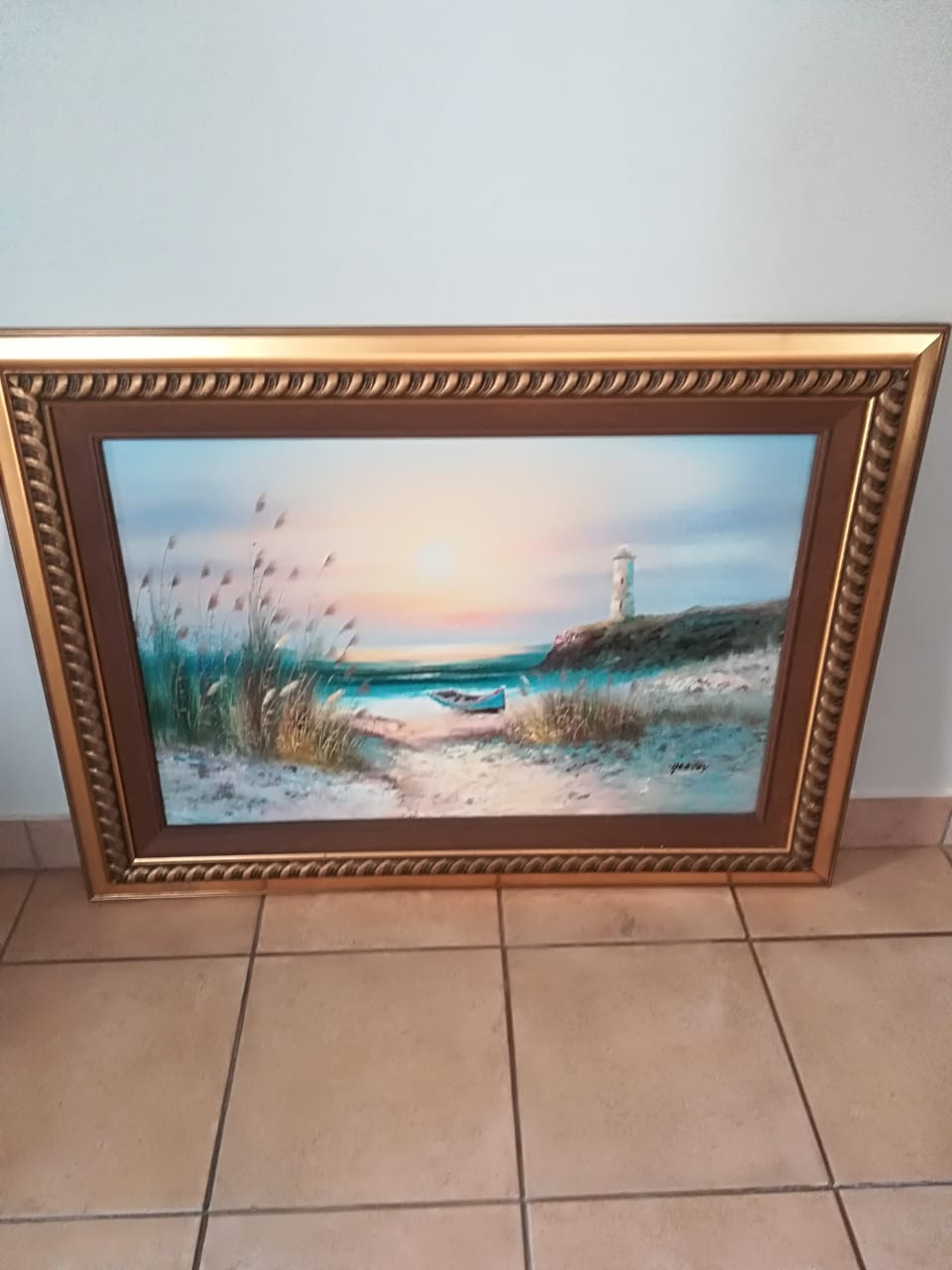 Gold plated sea coast painting