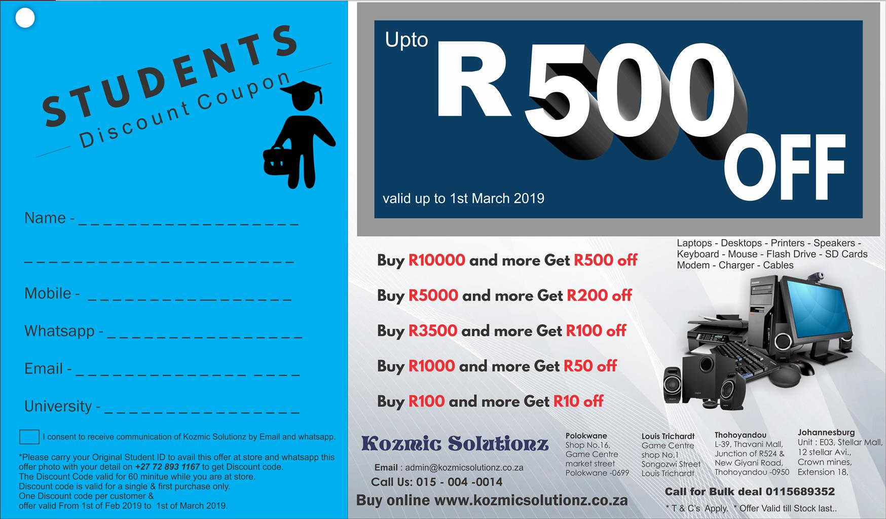 Student Special discounts