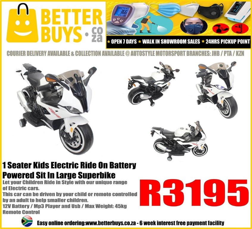 1 Seater Kids Electric Ride On Battery Powered Sit In Large Superbike