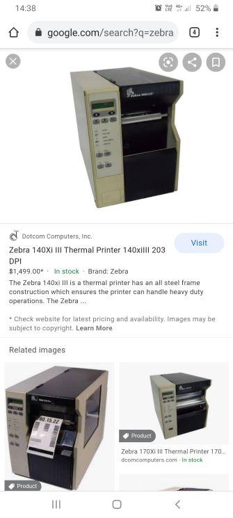 label printer Zebra 140x1 terminal printer 203 DPI