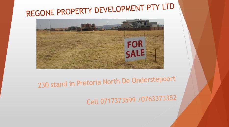 PLOT EARNMARKED FOR DEVELOPMENT FOR SALE De-Onderstepoort Pretoria North