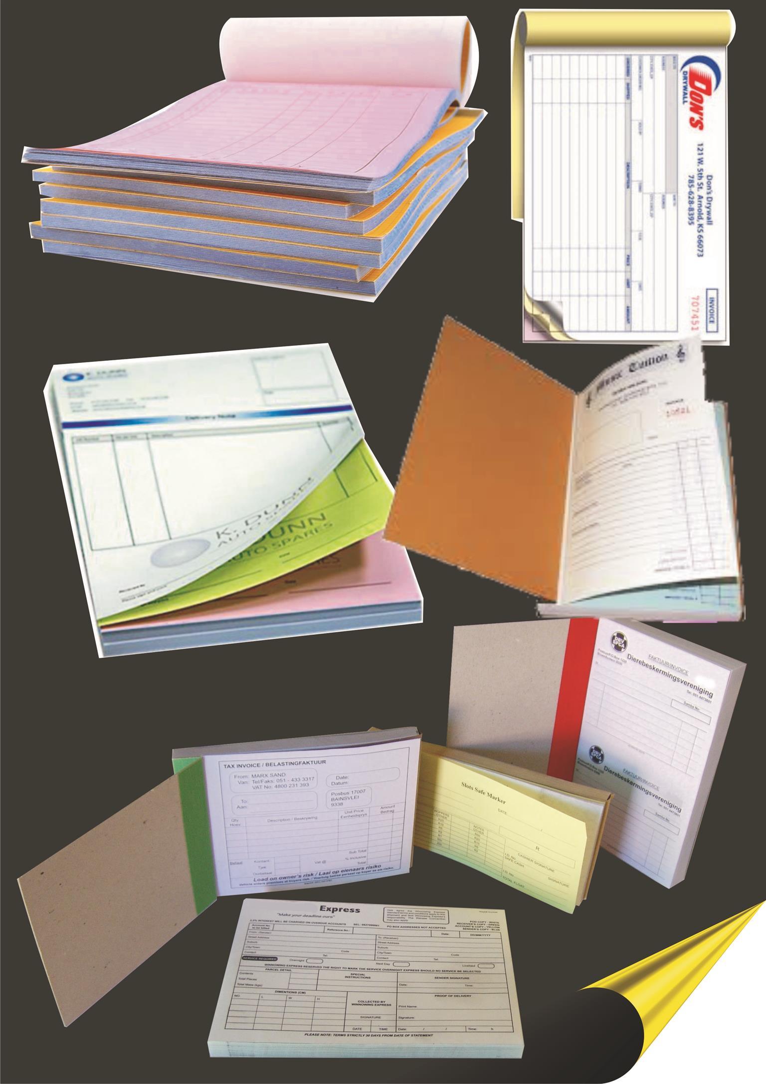 Custom printed invoice books/reciept books