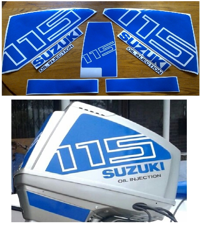 Suzuki DT 115 outboard motor cowl decals stickers vinyl graphics kits