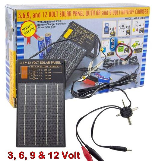 4 IN 1 Super Charge Solar Panel - Adjustable to 3, 6, 9 and 12 volt