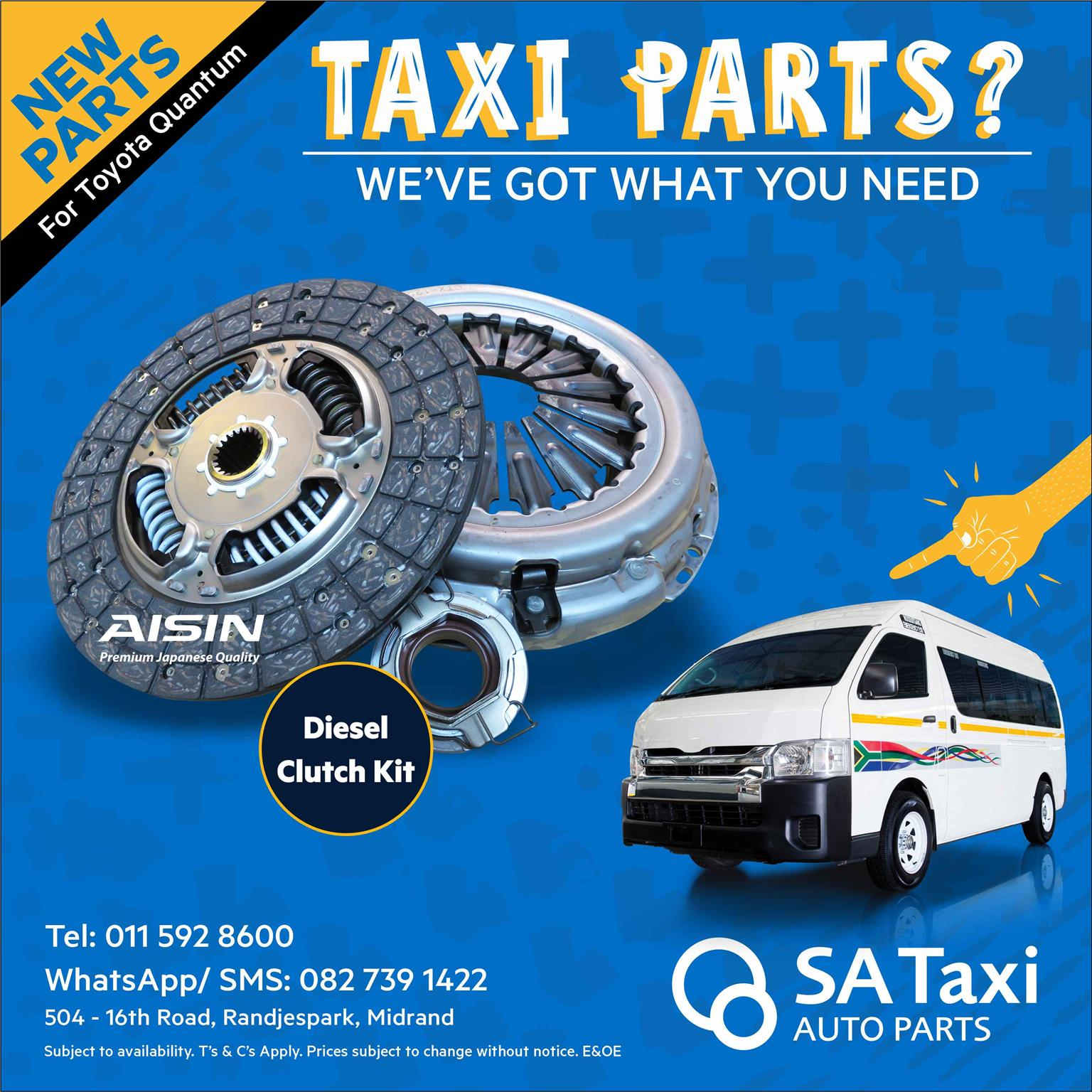 NEW Diesel Clutch Kit 2.5 2KD suitable for Toyota Quantum - SA Taxi Auto Parts quality taxi spares