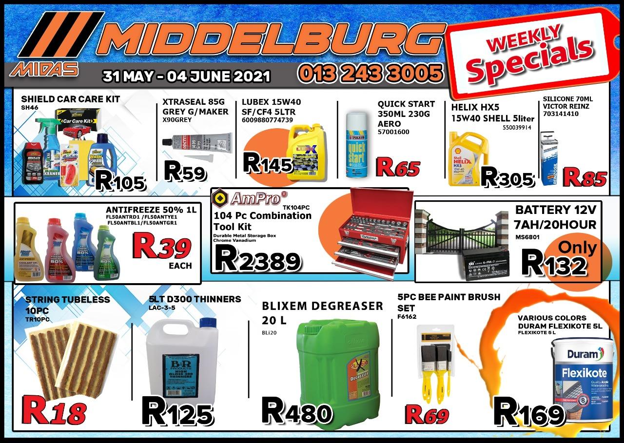 Weekly Specials now on at Middelburg Midas -Sparesworld!