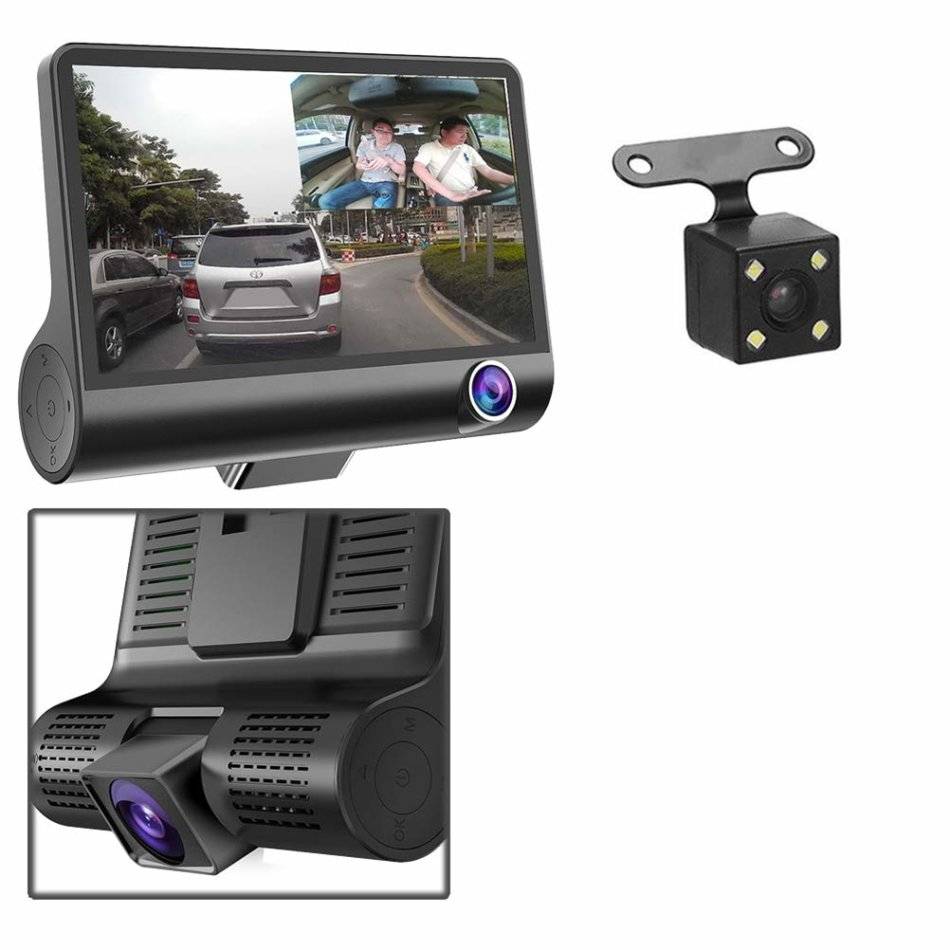 HD Car Dash Camera with 3 Way Camera - Front and rear camera with Reverse Backup Camera