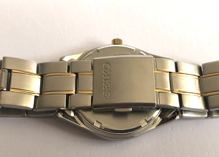 SEIKO SOLAR MEN'S WATCH, TWO TONE, DAY DATE, LIKE NEW