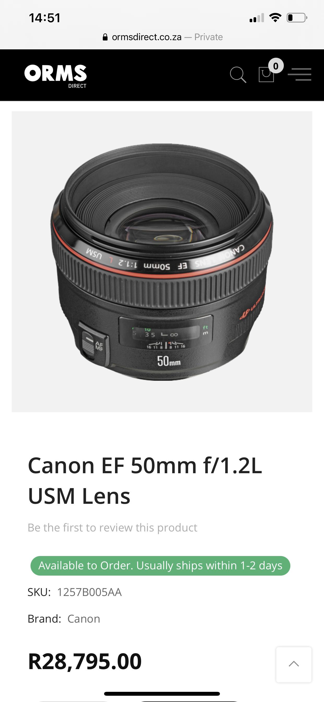 Canon 50mm F1.2 L series lens