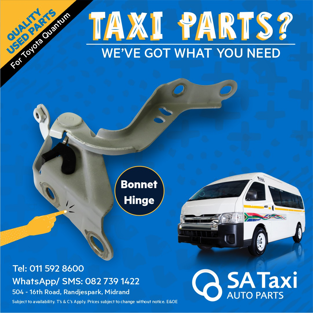 Bonnet Hinge suitable for Toyota Quantum - SA Taxi Auto Parts quality used spares