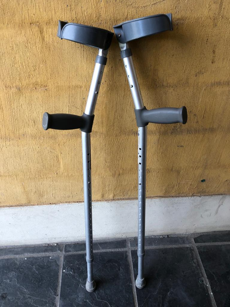Pair of Adjustable aluminium Crutches - light and strong - 1 size fits all