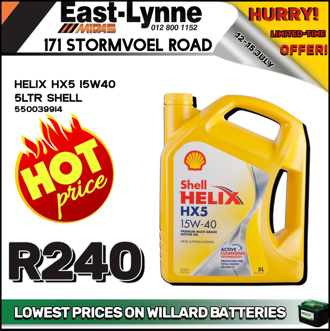 Shell Helix HX5 15W40 5L ONLY at East-Lynne MIDAS!