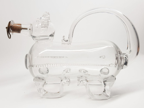 Glass Pig Decanter --19th Century