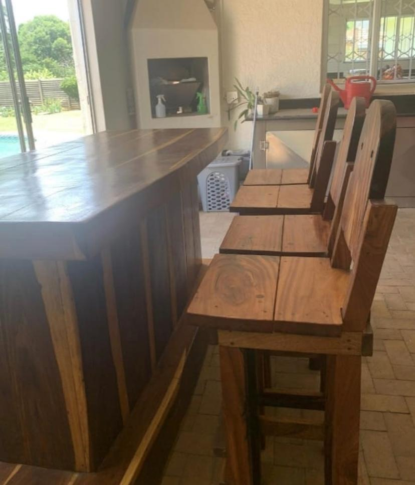 Solid Sleeper Wood Bar and 4 Chairs